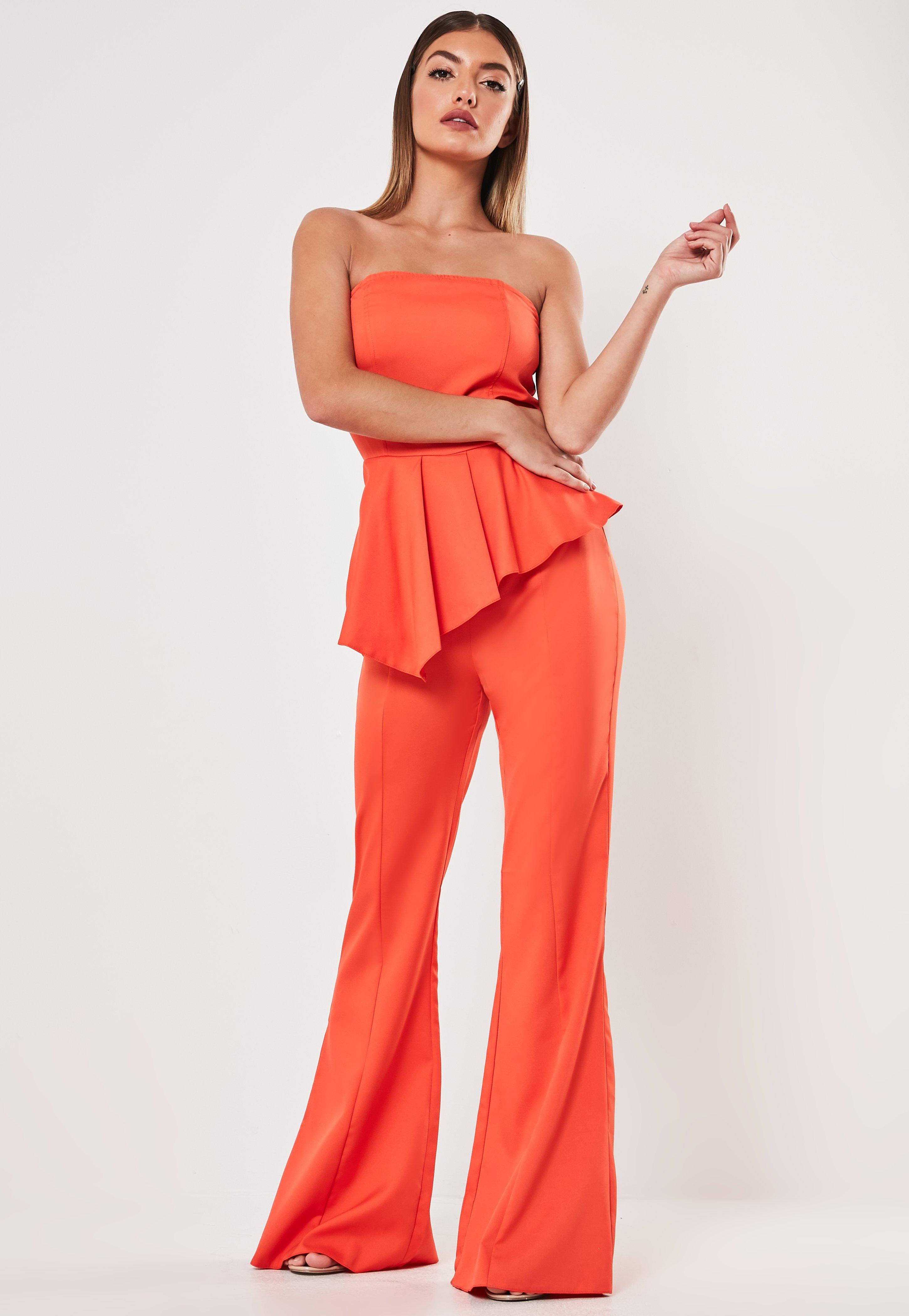 Blush Nude Bardot Frill Flared Bandeau Cropped Wide Leg jumpsuit High Branded