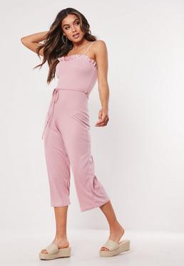 1d5d1d6051 ... Pink Rib Frill Edge Culotte Jumpsuit