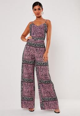 d9c8be54407 Pink Mixed Leopard Print Cowl Front Jumpsuit