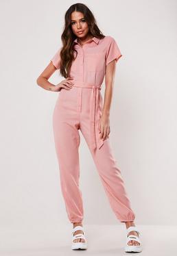 d5a758e5d2cc Yellow Button Front Pocket Wide Leg Jumpsuit; Pink Belted Jumpsuit