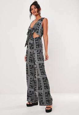 f1322e448bd ... Black Scarf Print Tie Front Cut Out Jumpsuit