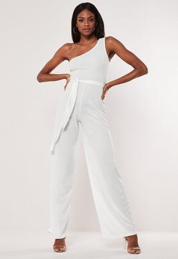 5399a8bfed2 White Rib One Shoulder Jumpsuit
