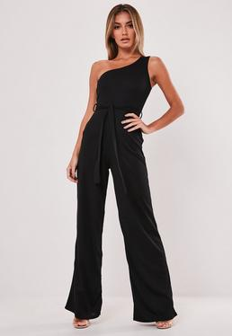 65b25ccb1e5d5 Black Rib One Shoulder Jumpsuit