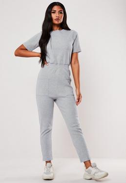 e23181a99611 Grey Jersey Ribbed Pocket Front Jumpsuit
