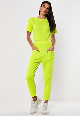 ac9ff84c6f Navy Belted Rib Jumpsuit  Neon Yellow Rib Pocket Jumpsuit
