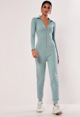 503f8f7b99e Camel Ribbed Pocket Jumpsuit · Mint Zip Collar Ribbed Jumpsuit
