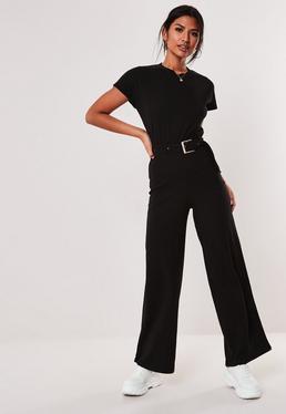 35b6264e5f0 ... Black Rib Belted Wide Leg Jumpsuit