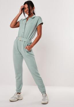 1ee0b58ee36 Mint Short Sleeve Belted Jumpsuit