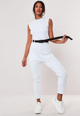 22a528ec46f7 Petite Black Plunge Wide Leg Jumpsuit · White Belted Sleeveless Ribbed  Pocket Jumpsuit