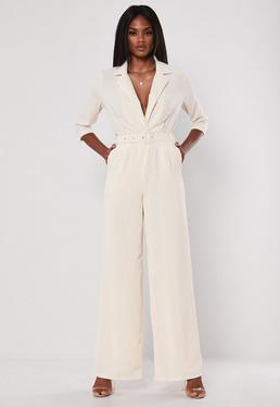 35a9a49ae75 ... Ivory Wide Leg Blazer Belted Jumpsuit