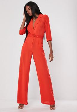 2a83136fce Red Wide Leg Blazer Belted Jumpsuit