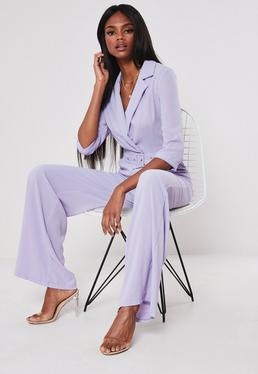 ed37274d8be4 Lilac Wide Leg Blazer Belted Jumpsuit