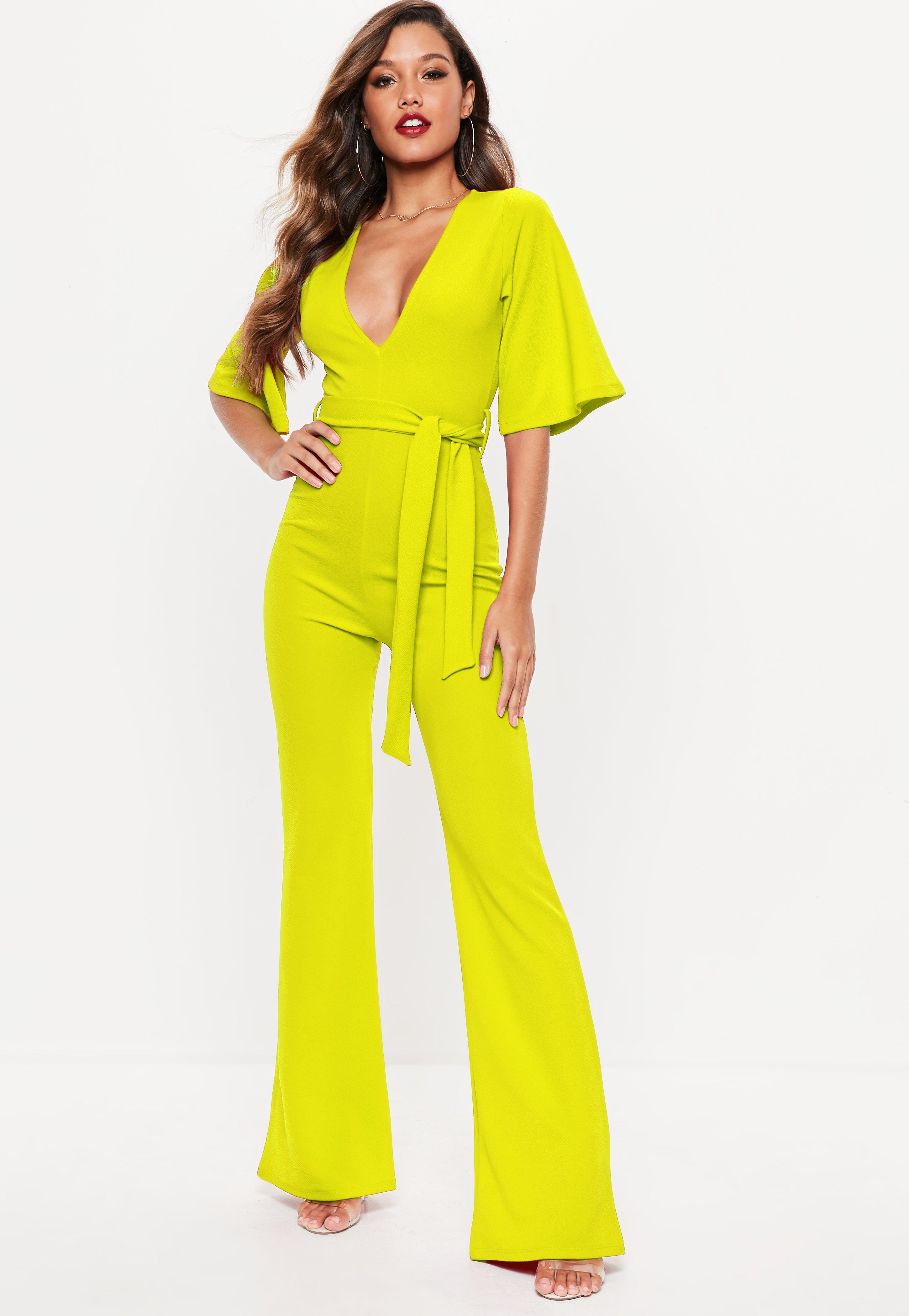 exclusive shoes noveldesign great deals on fashion Neon Yellow Kimono Sleeve Flare Leg Jumpsuit