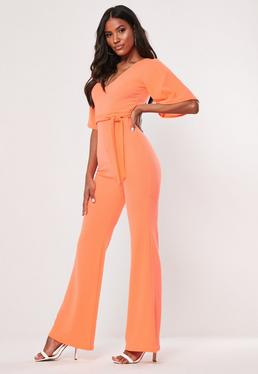 befa70964c Navy Belted Rib Jumpsuit · Neon Orange Kimono Sleeve Flare Leg Jumpsuit