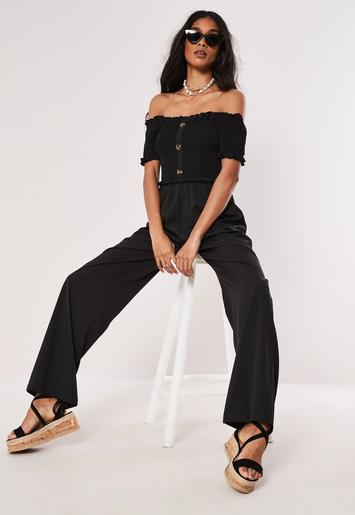 f545278b87d7 Black Shirred Horn Button Bardot Jumpsuit | Missguided