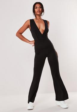 df0e9f4b6128 ... Black V Front Wrap Sleeveless Flared Jumpsuit