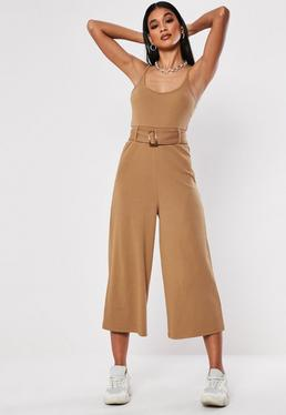 8f2c3ec42d5 Navy Belted Rib Jumpsuit · Camel Rib Belted Culotte Jumpsuit
