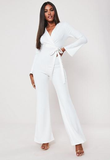 Ivory Long Sleeve Wrap Jumpsuit by Missguided