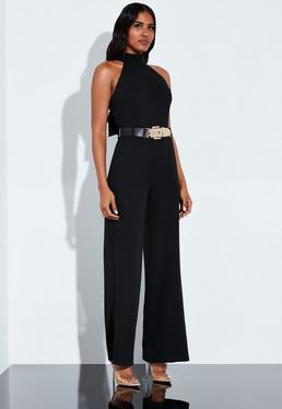 973cf7b978254 ... Dress · Peace + Love Black Tailored Waterfall Back Detail Belted  Jumpsuit