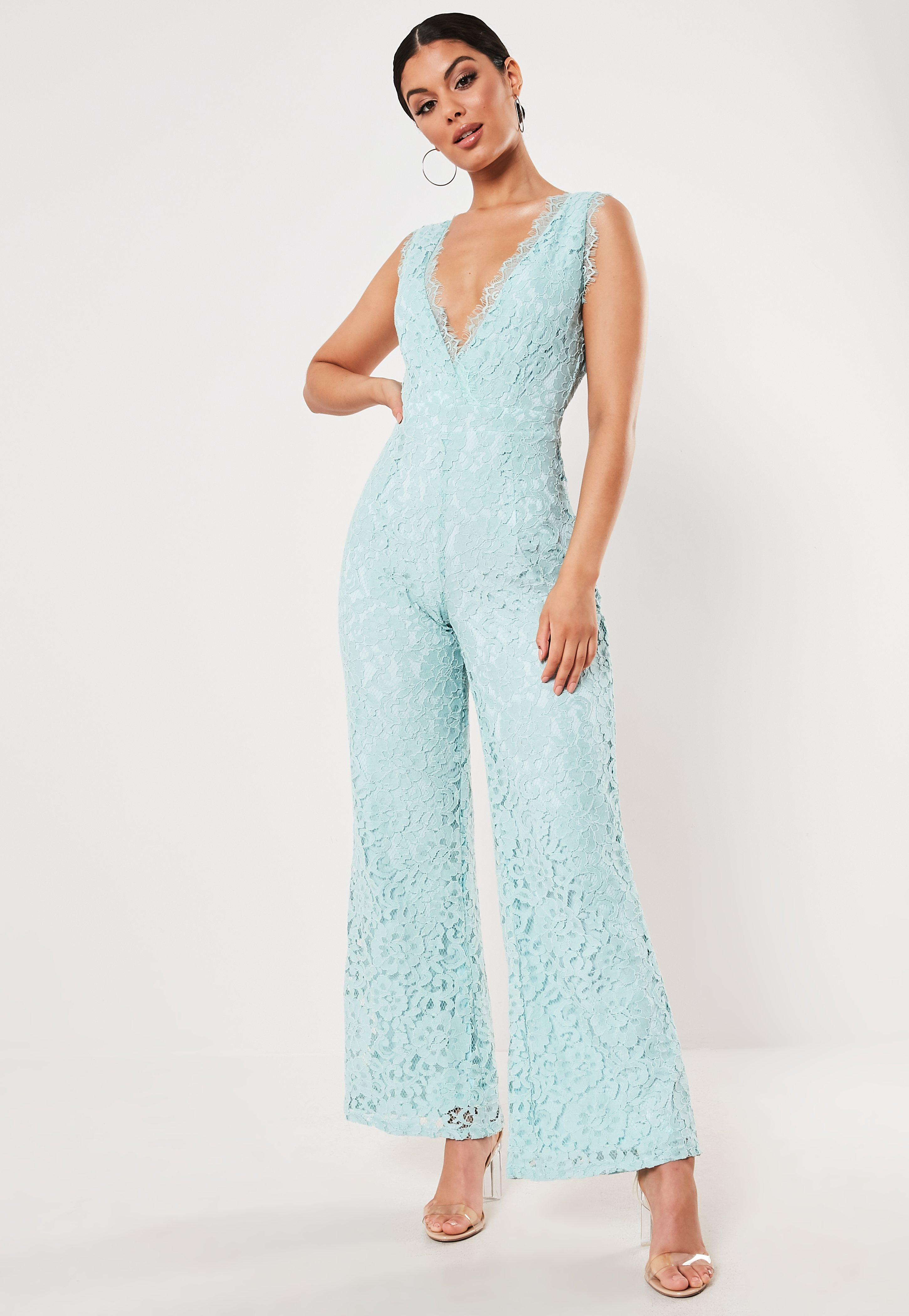 Mint Lace Sleeveless Plunge Jumpsuit by Missguided