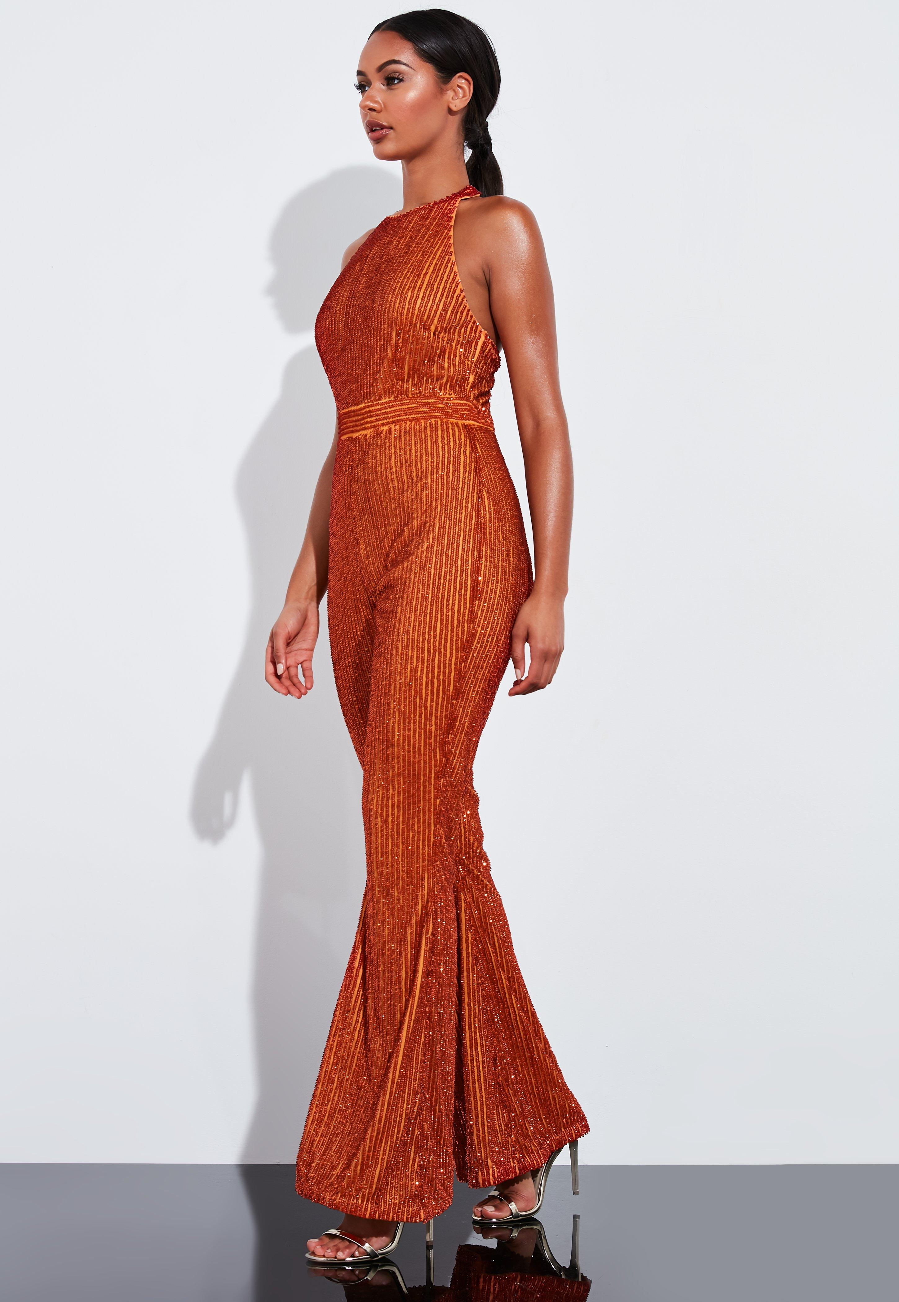 rich and magnificent buy best professional design Peace + Love Orange Embellished Sequin Wide Leg Jumpsuit