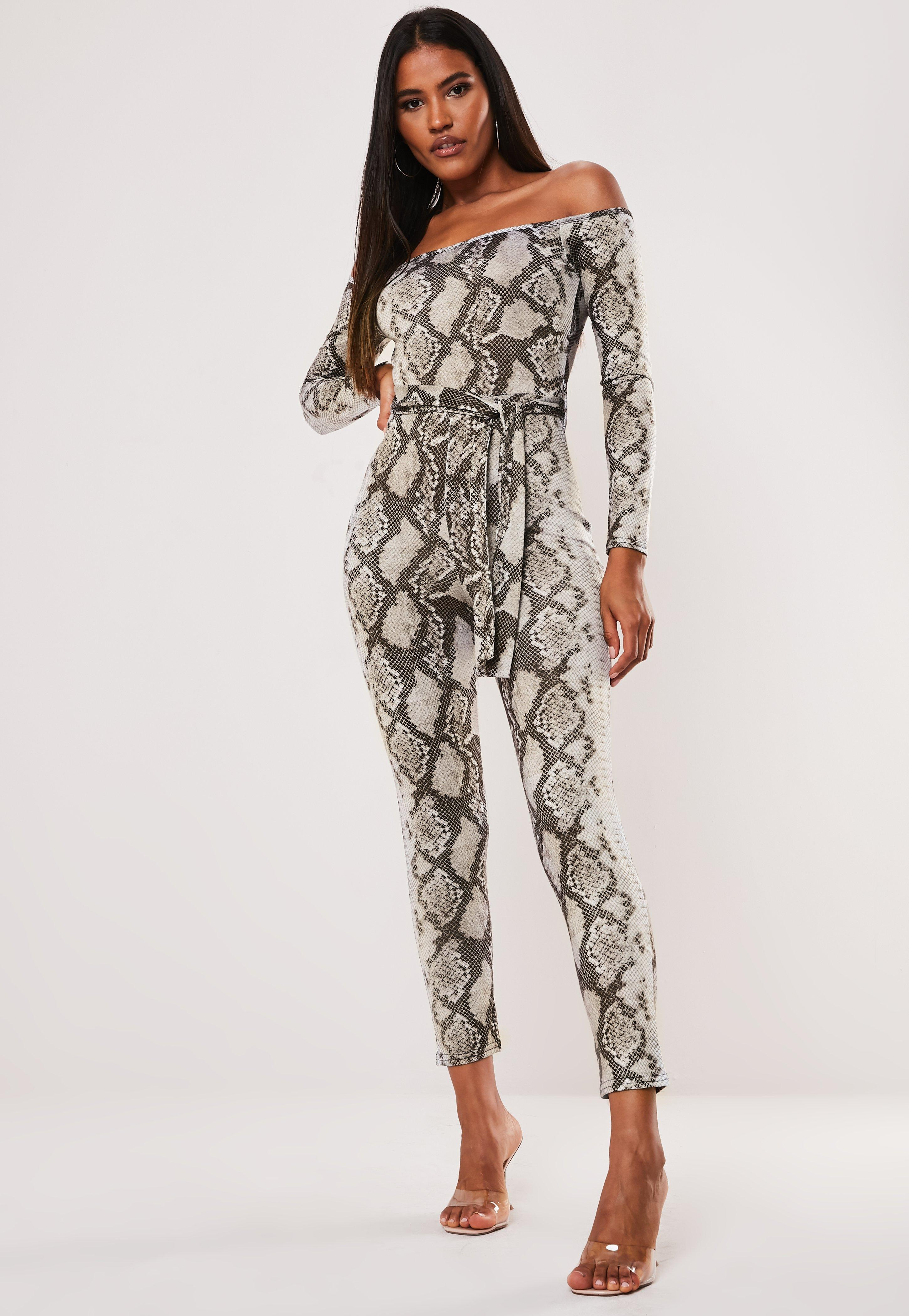 8addc977ad9eb Gray Snake Print Off The Shoulder Jumpsuit