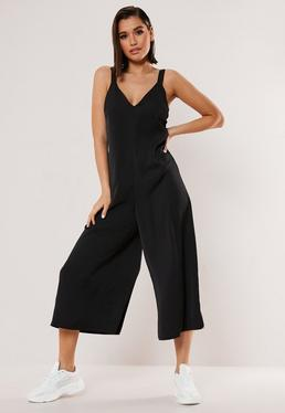 27e36ee40436 Black V Neck Wide Leg Culotte Jumpsuit