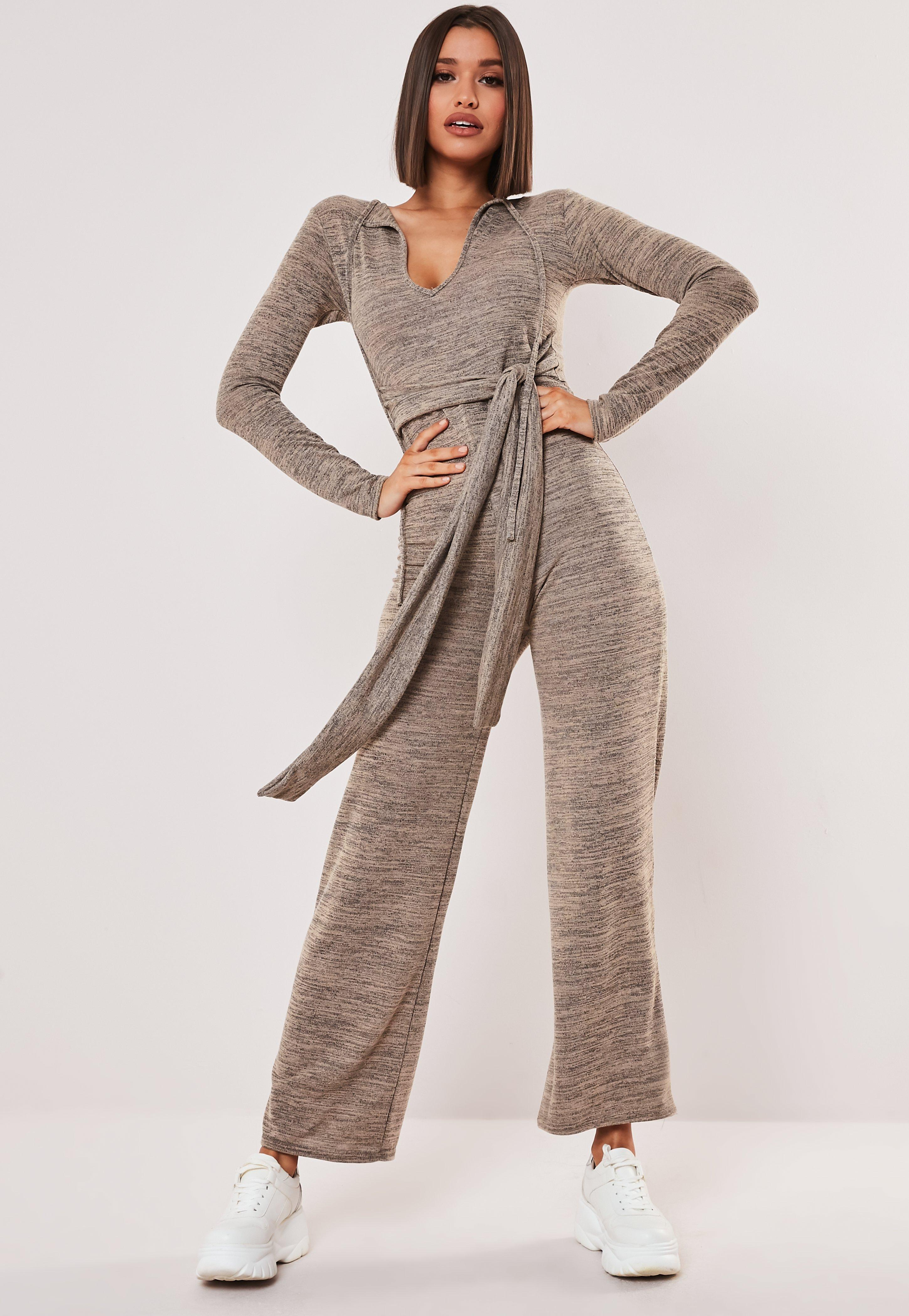 0f67b139a Stone Belted Long Sleeve Jumpsuit | Missguided Australia