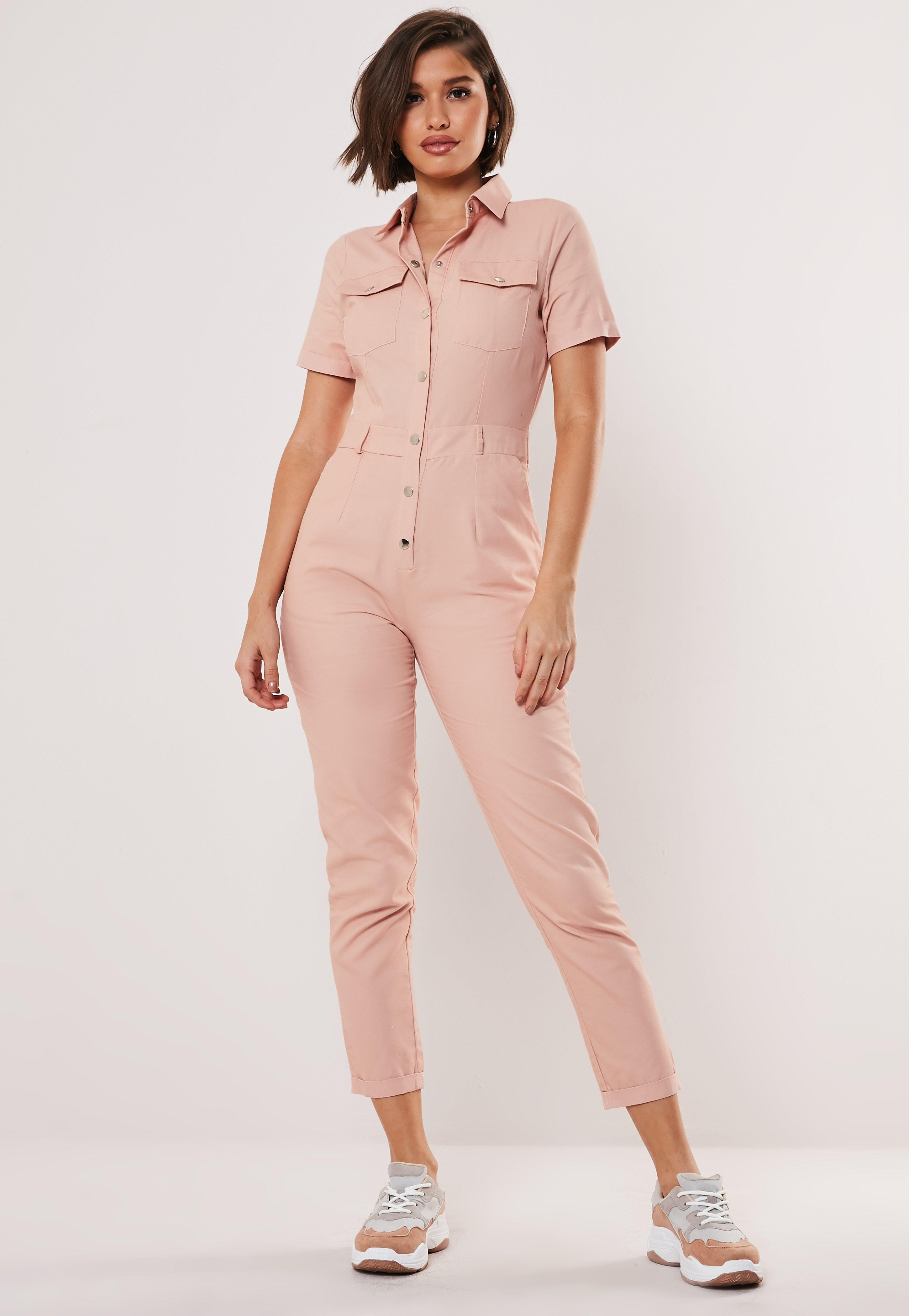 Nude Short Sleeve Utility Jumpsuit by Missguided