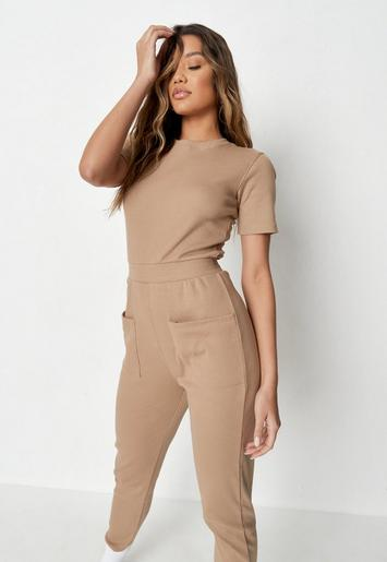 Camel Ribbed Pocket Jumpsuit by Missguided