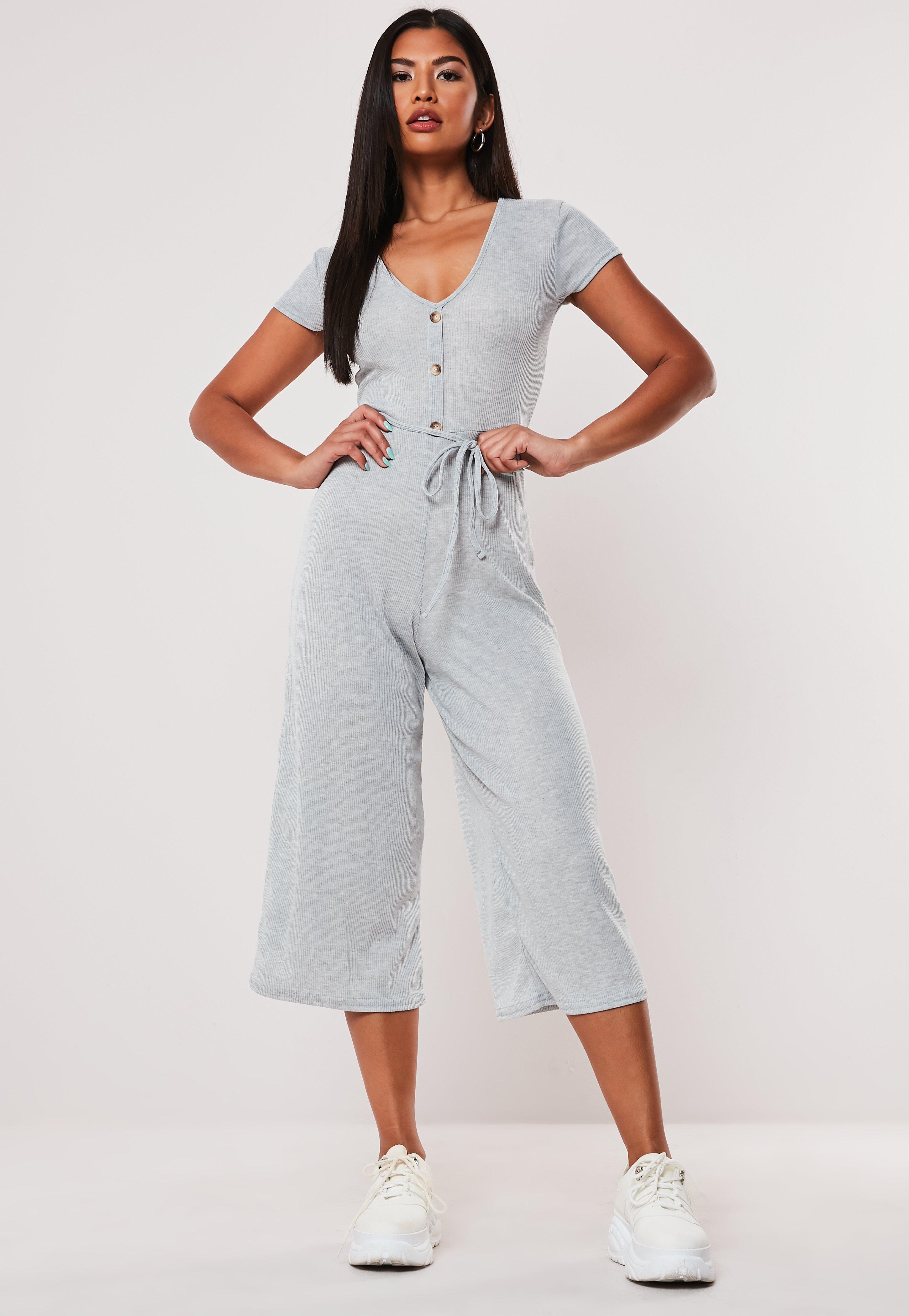 52c9b75fff76e Gray Rib Button Culotte Jumpsuit