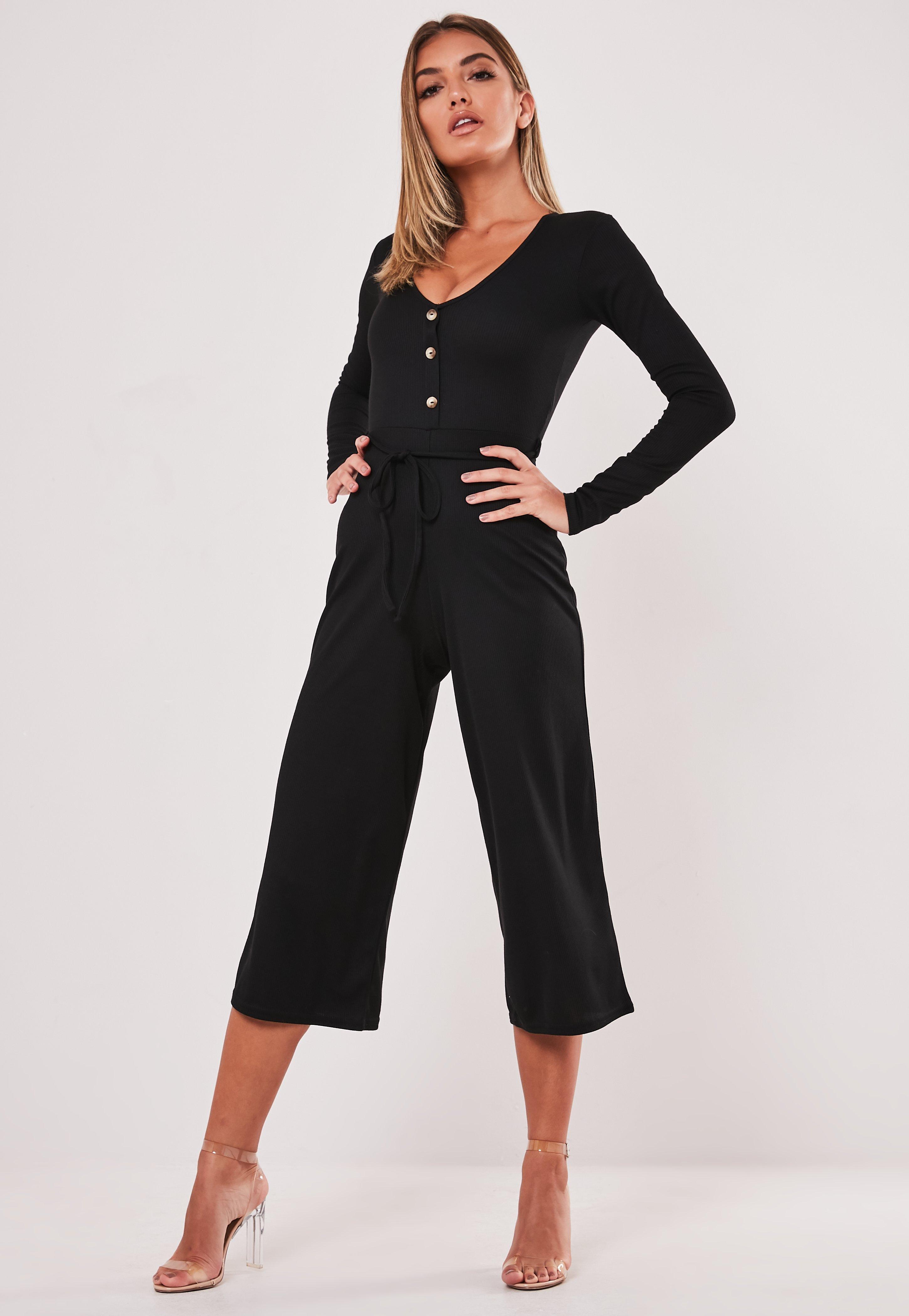 Christmas Jumpsuit Womens.Black Rib Button Front Flare Leg Culotte Jumpsuit