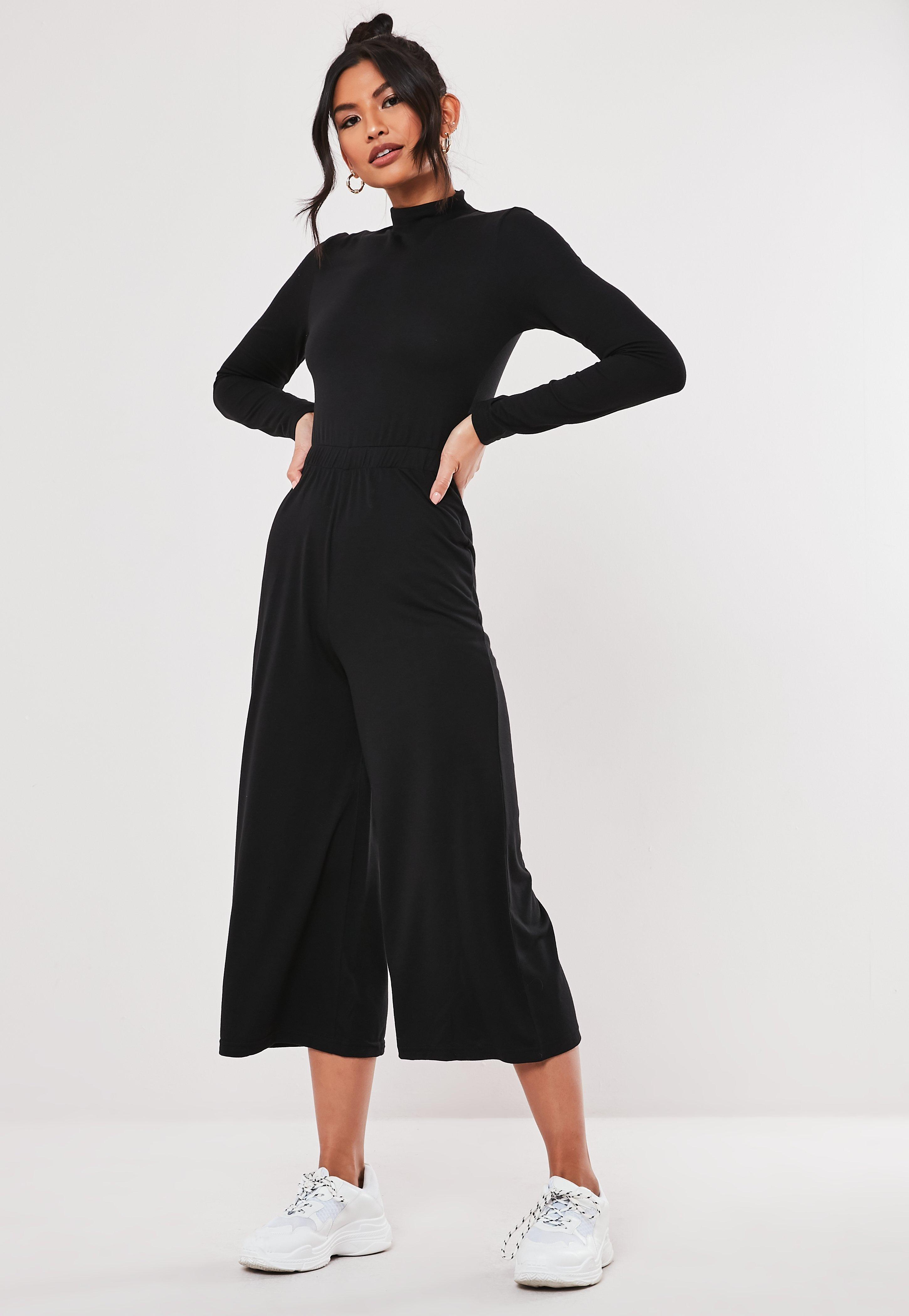 purchase authentic uk store low priced Black High Neck Tie Waist Culotte Jumpsuit