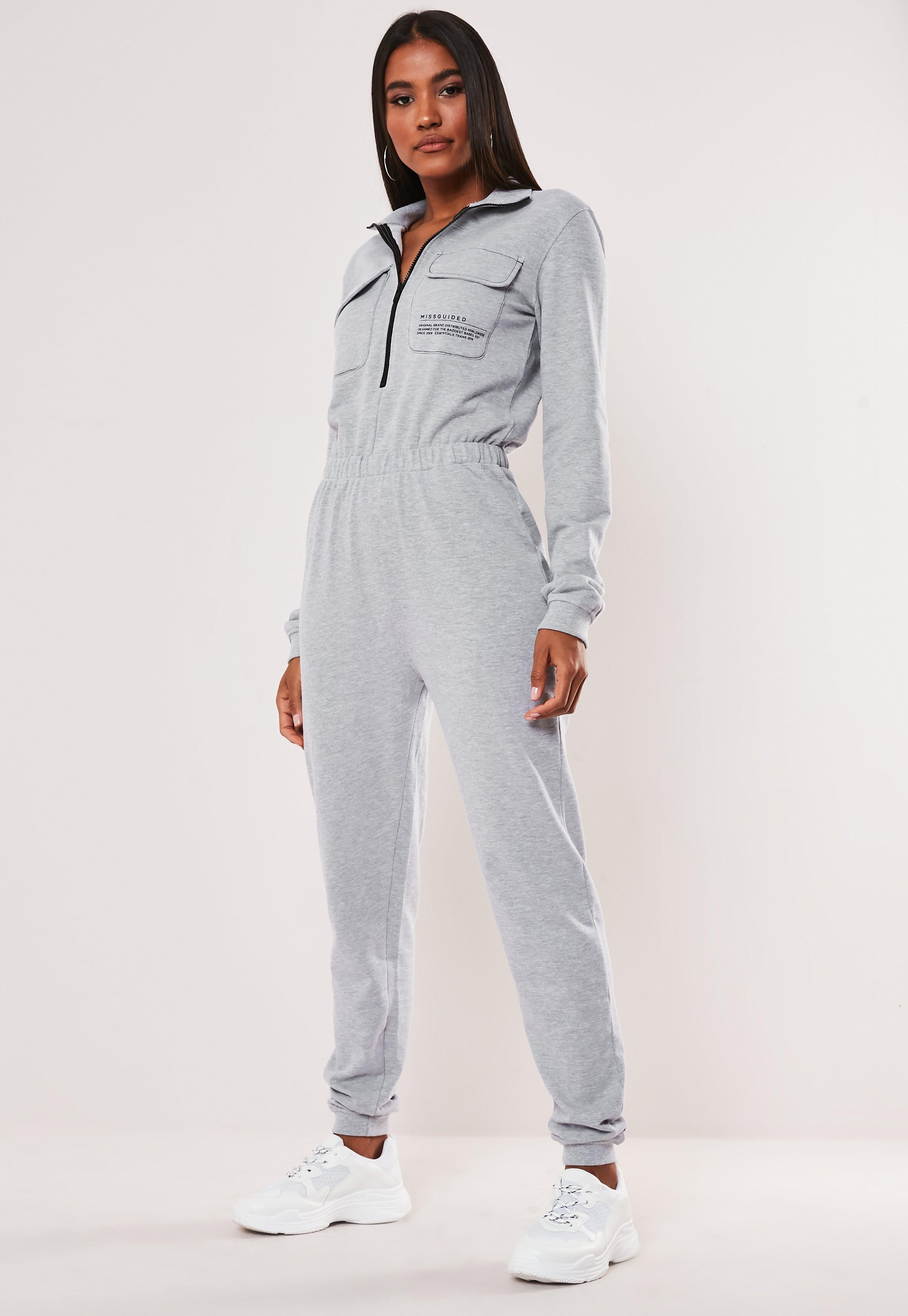 Gray Zip Through High Neck Slogan Jumpsuit by Missguided