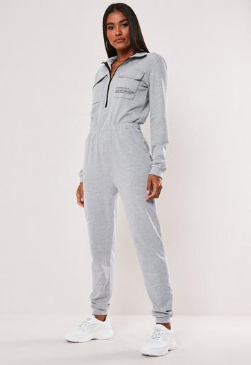 Grey Zip Through High Neck Slogan Jumpsuit by Missguided