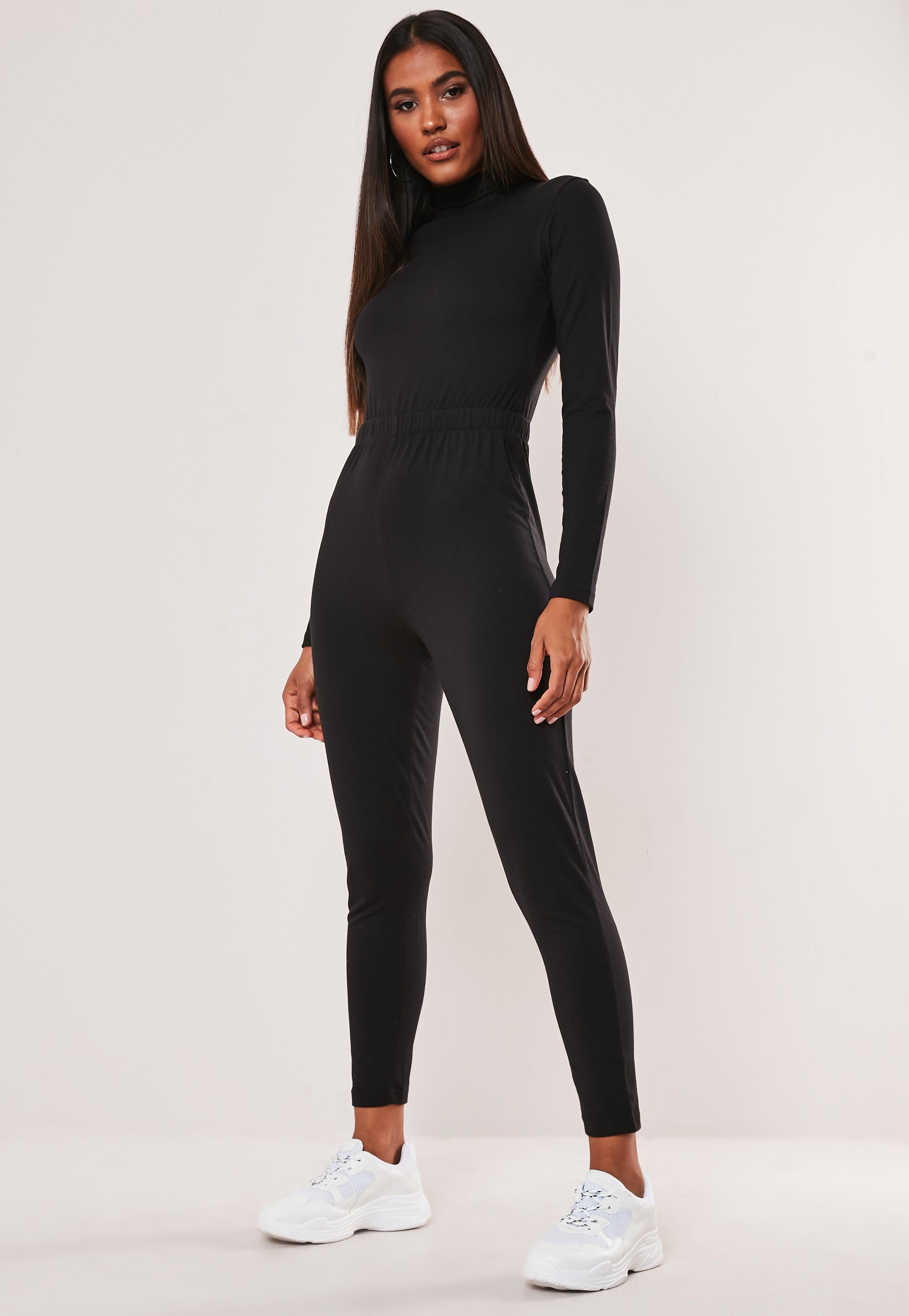 Black High Neck Long Sleeve Jumpsuit by Missguided
