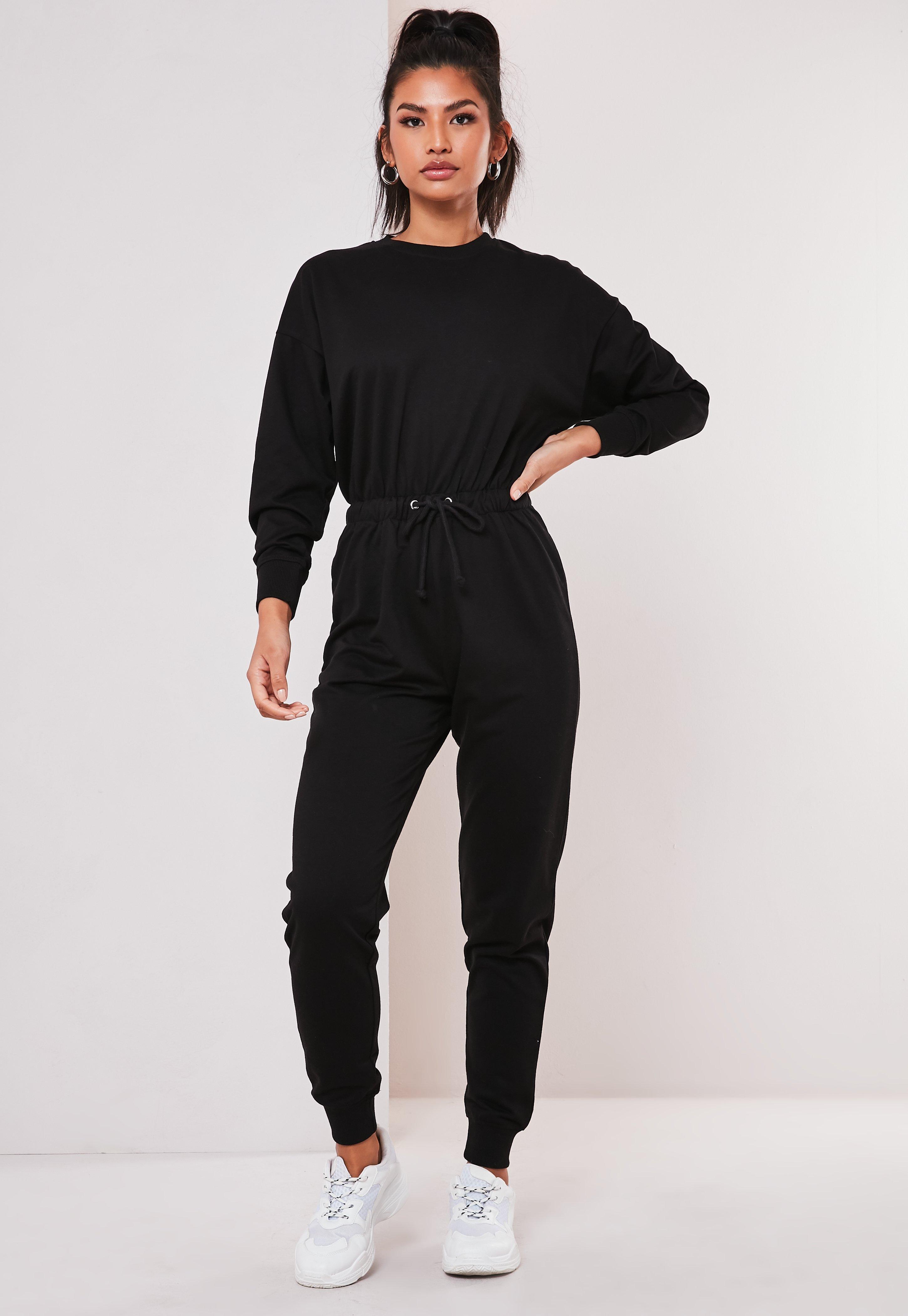 shop for authentic high quality great discount for Black Drop Shoulder Drawstring Waist Jumpsuit