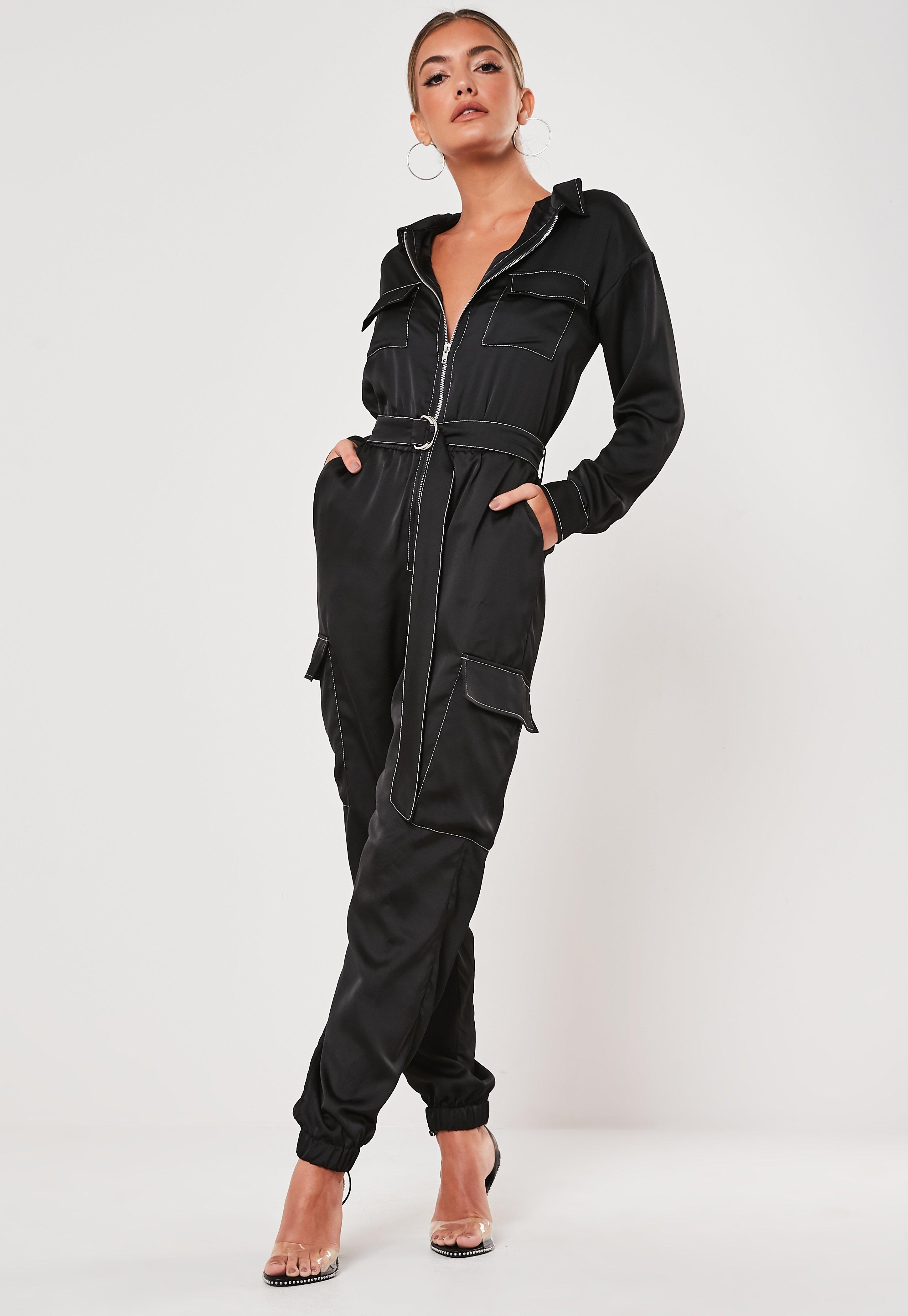 Black Satin Contrast Stitch Boiler Jumpsuit