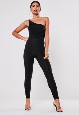 Black Slinky One Shoulder Ruched Jumpsuit