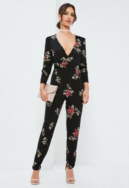 Black Floral Wrap Printed Jumpsuit