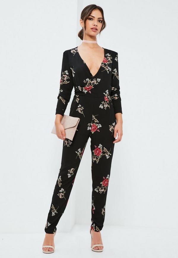 Black Floral Wrap Printed Jumpsuit