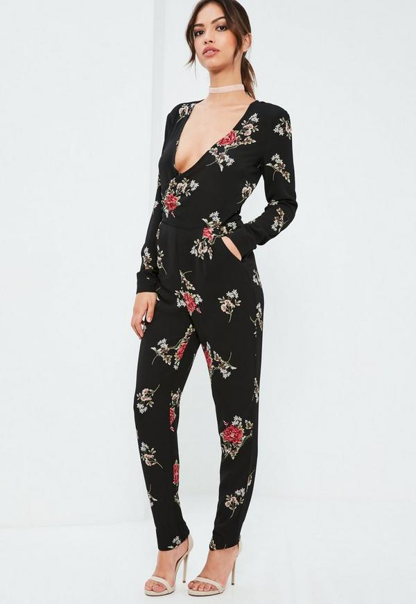 Black Floral Wrap Printed Jumpsuit - Missguided