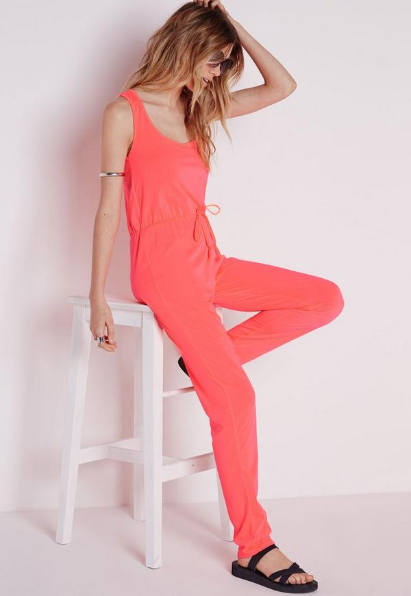 Jersey Drawstring Jumpsuit Pink