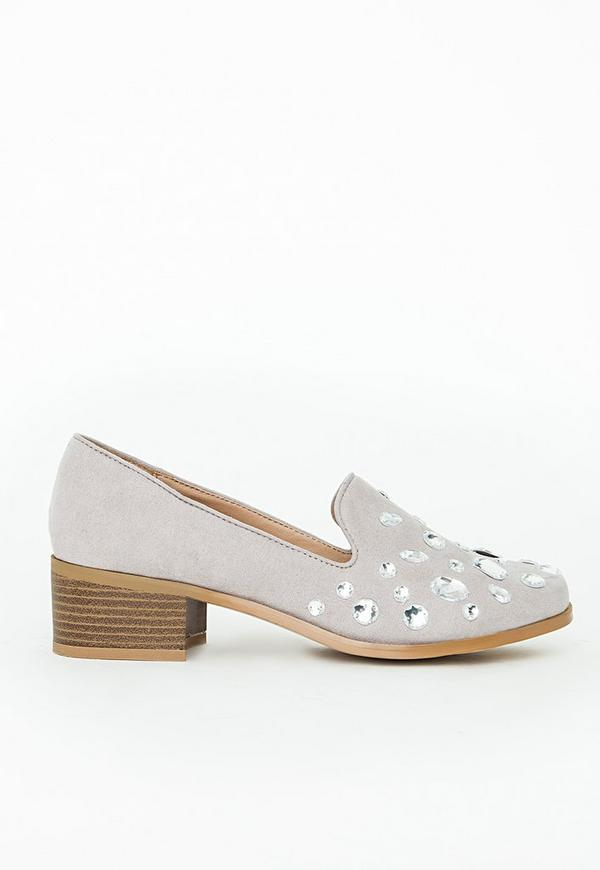 Alexa Embellished Heeled Loafers Grey