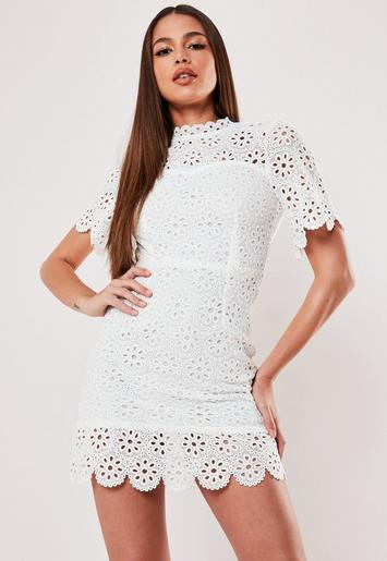 White Broderie Lace Open Back Mini Dress Missguided