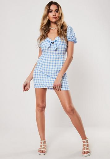 Blue Gingham Puff Sleeve Tie Front Mini Dress by Missguided