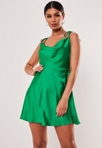 Green Satin Tie Strap Skater Mini Dress by Missguided