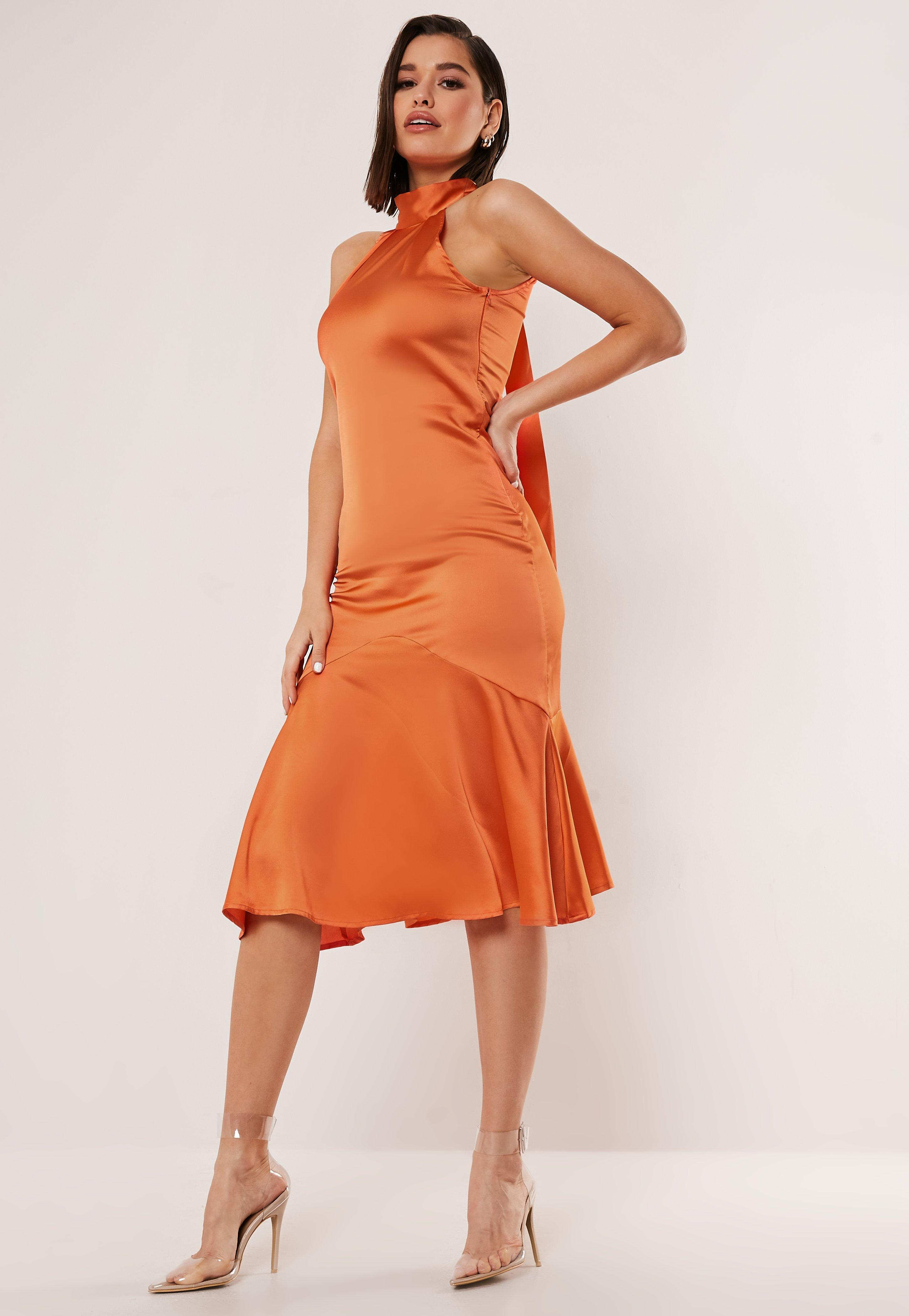 Orange Satin Halter Neck Midi Dress by Missguided