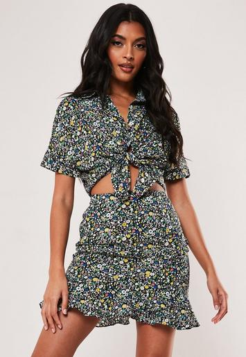 Black Floral Ditsy Print Co Ord Tie Front Shirt by Missguided