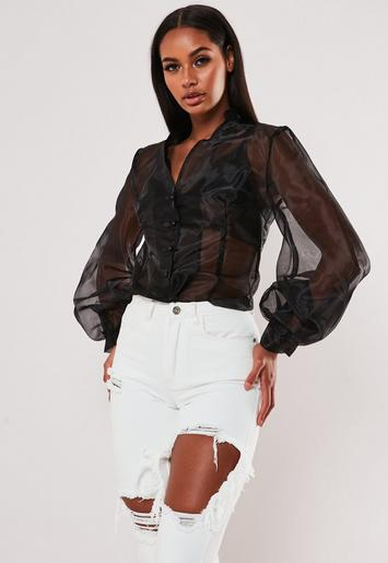 Black Organza Balloon Sleeve Button Front Top by Missguided